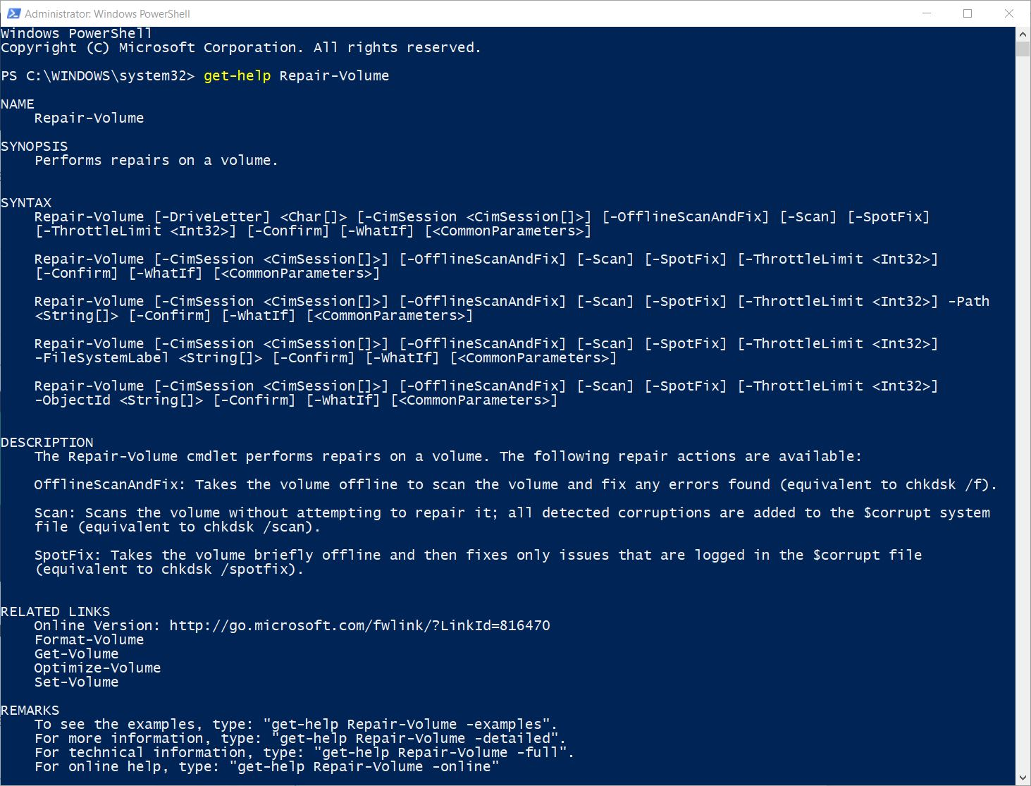 Win10 PowerShell Chkdsk Alternative