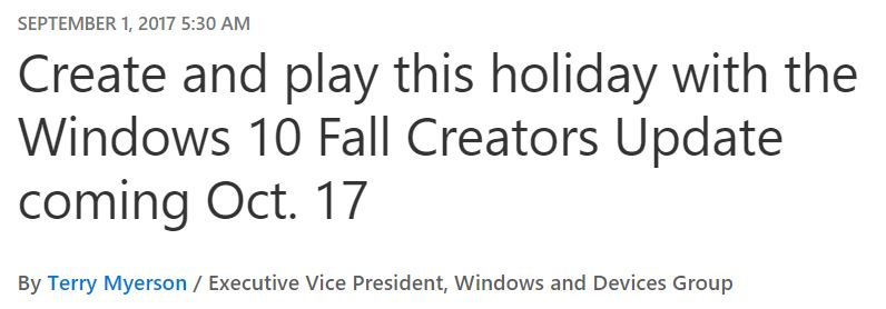 Win10 Fall Creators Update Hits October 17