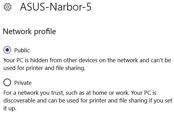 Restore Win10 Private Network Status