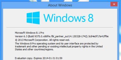 Windows 8.1 Blue About Windows