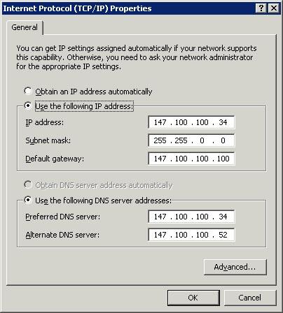 The Internet Protocol (TCP/IP) Properties sheet