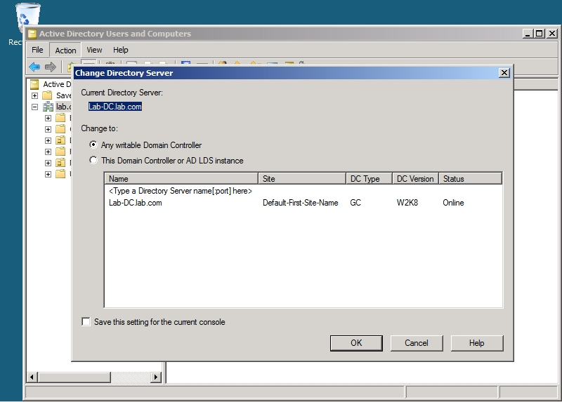 Working with active directory snapshots in windows server 2008 - Console active directory ...