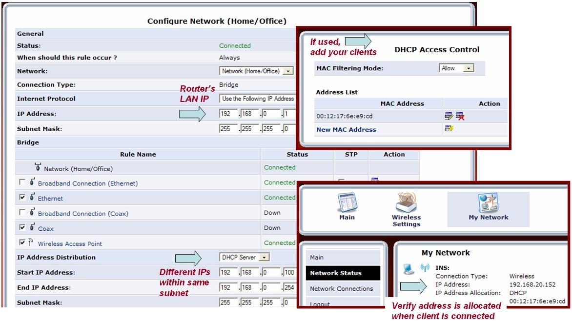verify router's LAN settings