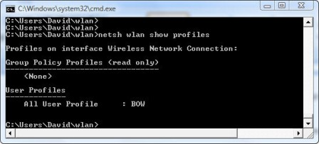 showing wireless profiles with Netsh WLAN