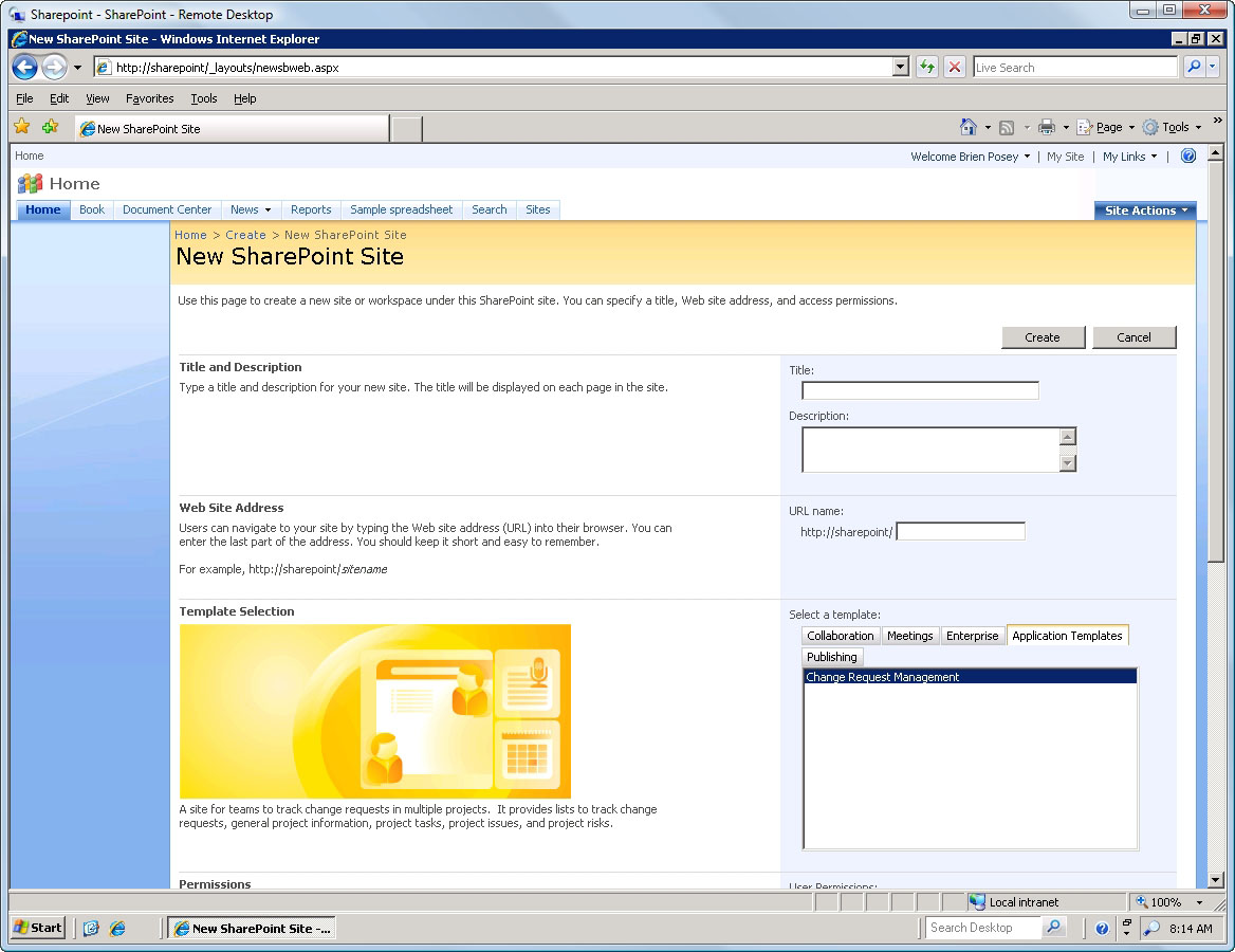 How to install the change request management template in for Sharepoint 2007 site templates