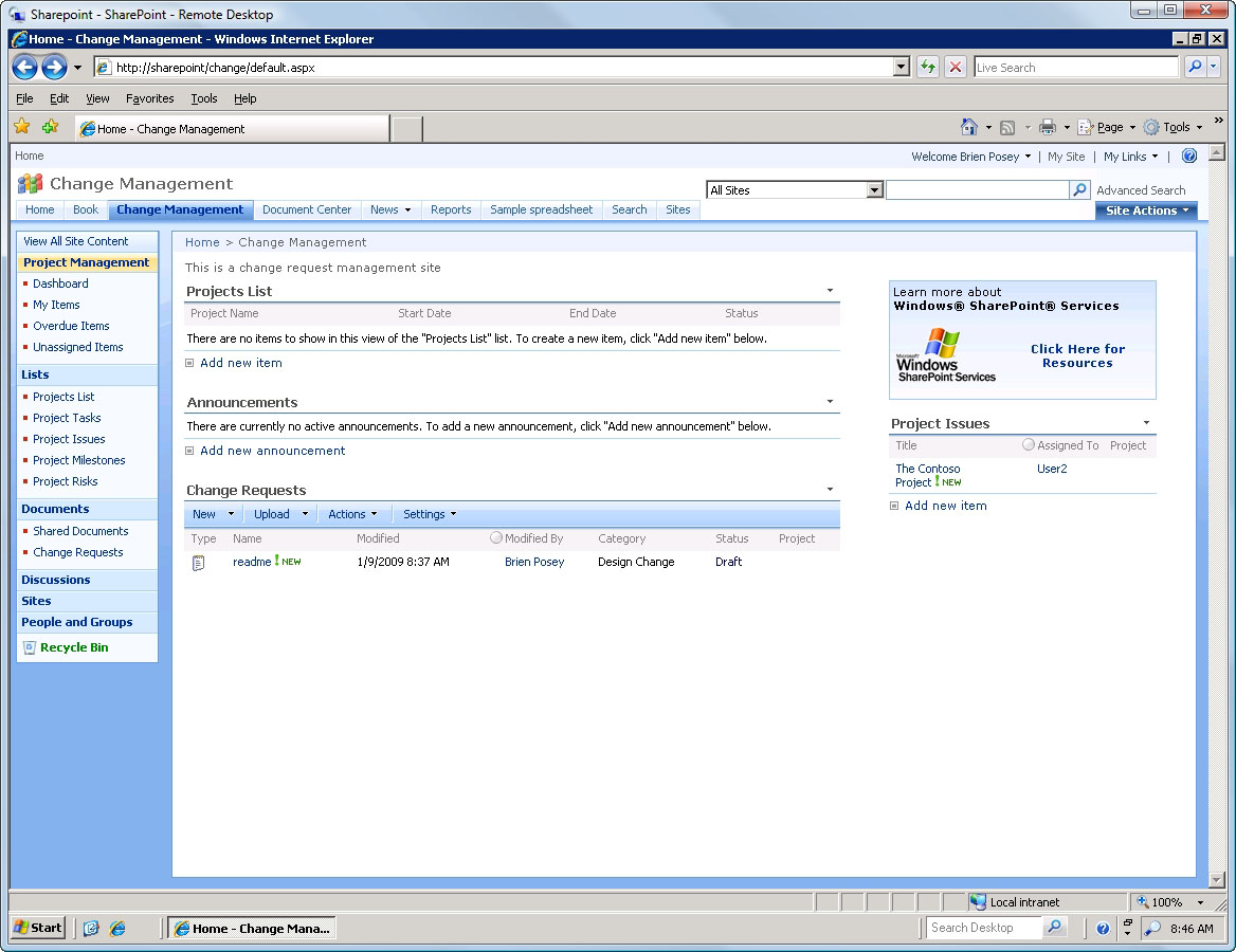 How to install the Change Request Management template in MOSS 2007 – Change Management Template Free