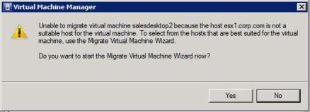 Carrying out VMotions with SCVMM are often unstable and generate this dialog box