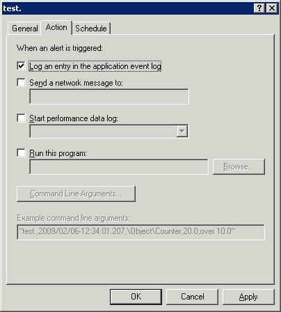 Choose the action that Exchange Server should take when triggering an alert