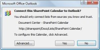 Outlook asks if you want to open the calendar