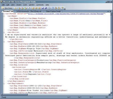 Determining the schema associated with an XML document.