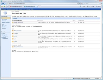 Documents and Lists screen in Microsoft SharePoint