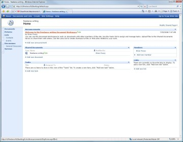 Microsoft Outlook attachment is named Freelance Writing workspace