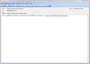 Direct link to the Microsoft SharePoint document workspace.