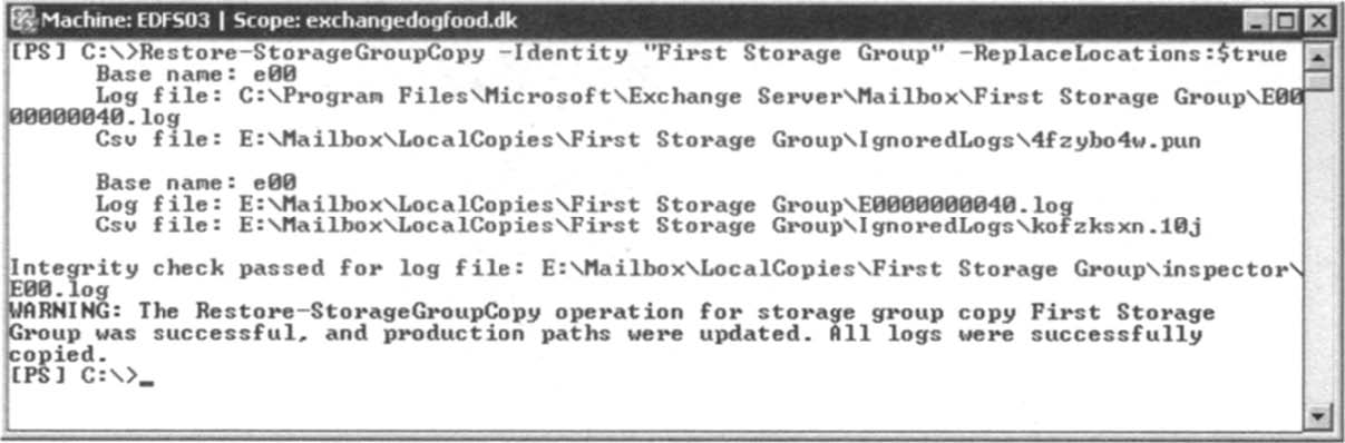 Switching to the LCR copy using the Restore- StorageGroupCopy CMDlet.