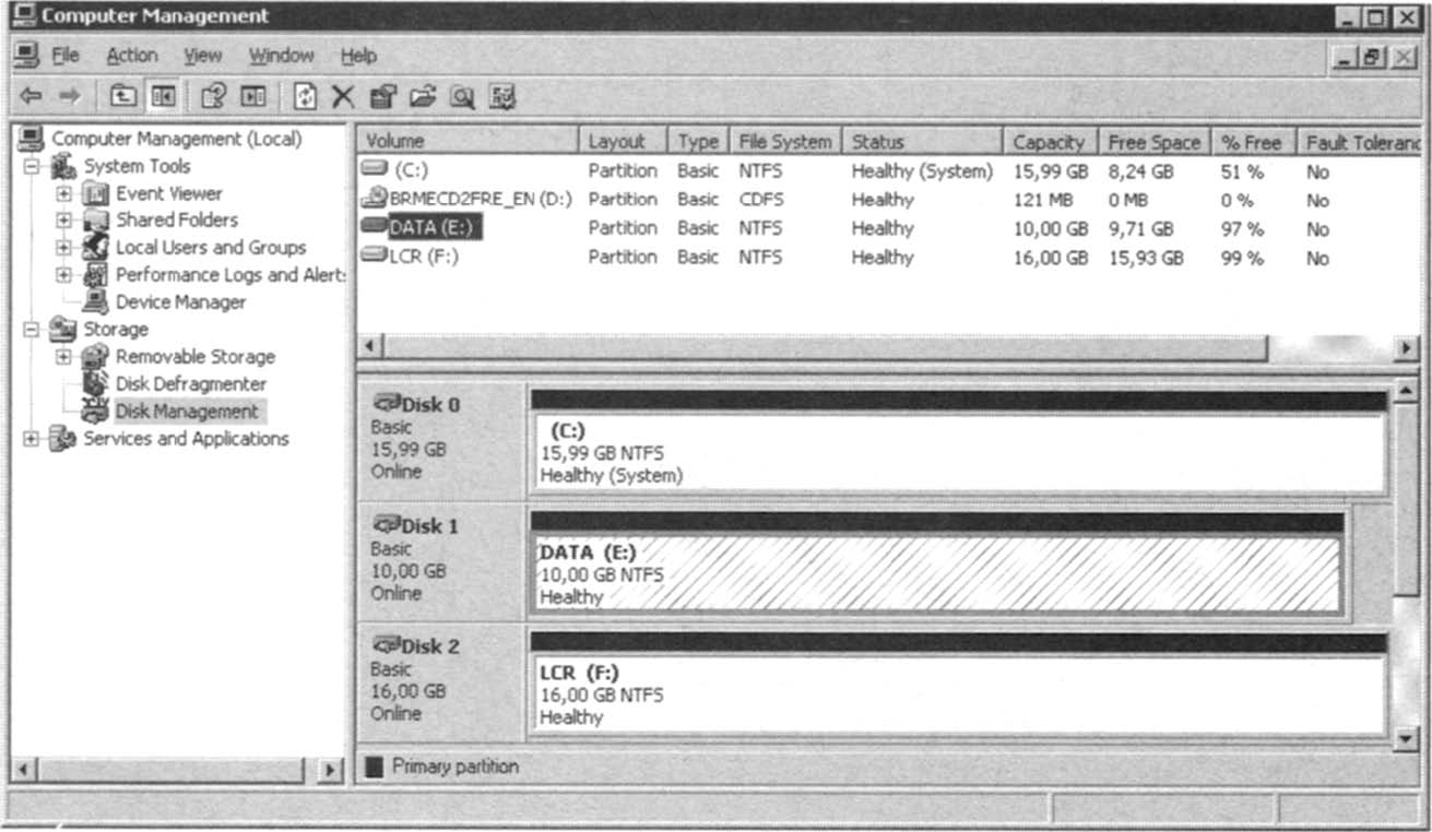 The Disk Management MMC Snap-in.