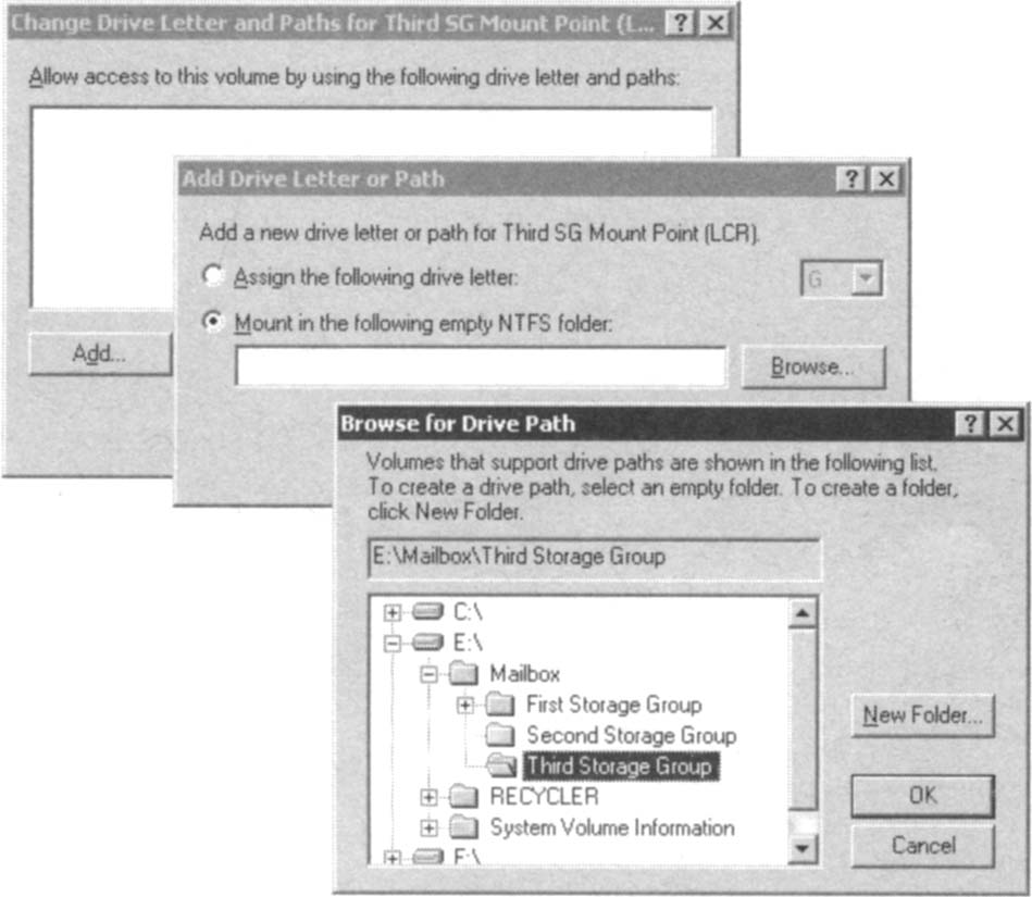 Specifying the new path for the NTFS volume mount point.