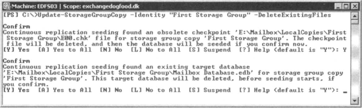Specifying that the StorageGroupCopy CMDlet delete any existing files..