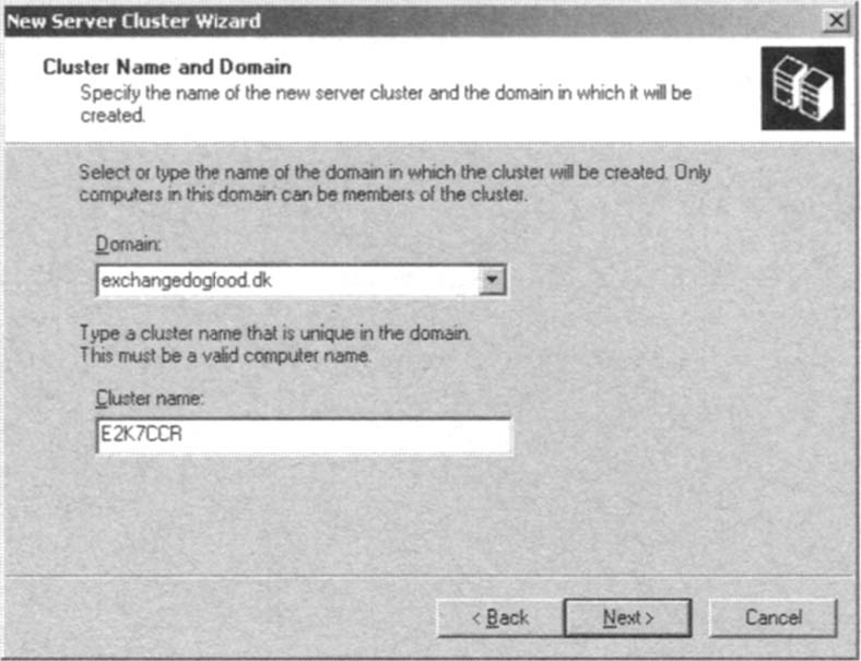 Specifying the Cluster Name and Domain
