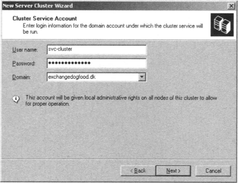 Entering the Credentials of the Cluster Service Account