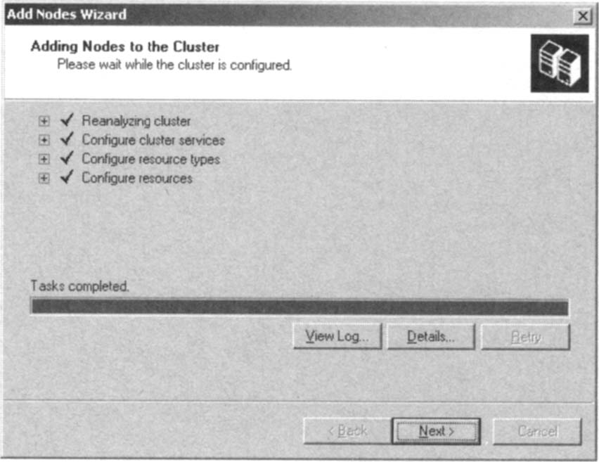 The Cluster Is Configured for the Second Node