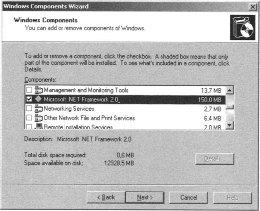 Installing the Microsoft .NET Framework 2.0 Windows Component