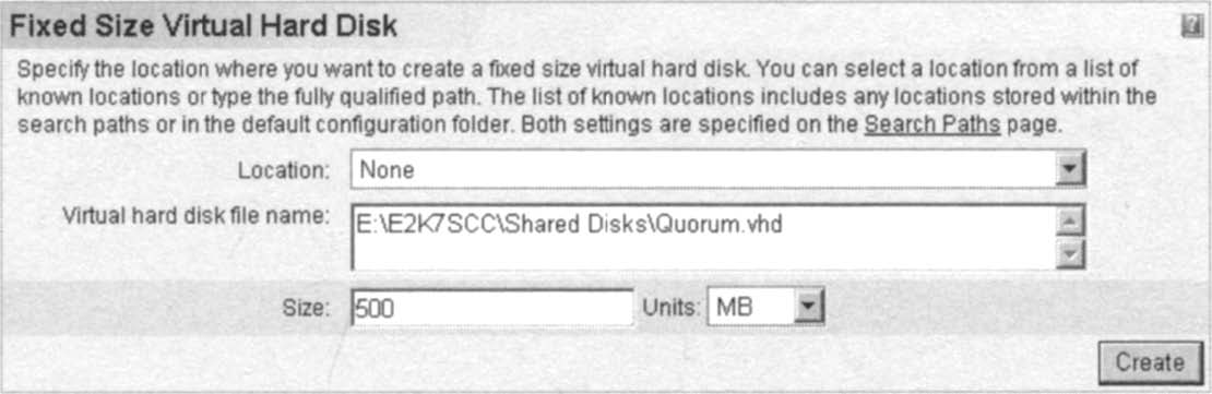 Specifying the Virtual Hard Disk Filename and Size