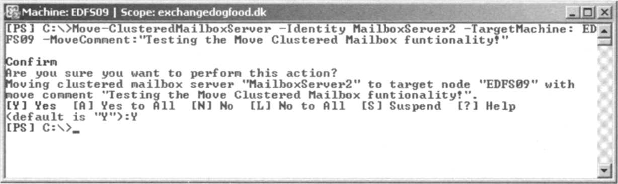 Moving the Clustered Mailbox Resources to the Second Node