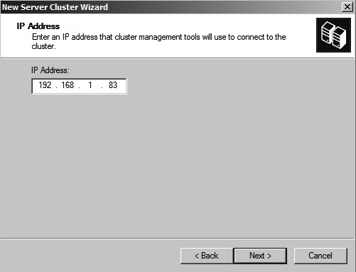Figure 22: Input the cluster IP address.