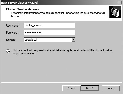 Figure 23: The Cluster Service Account window.