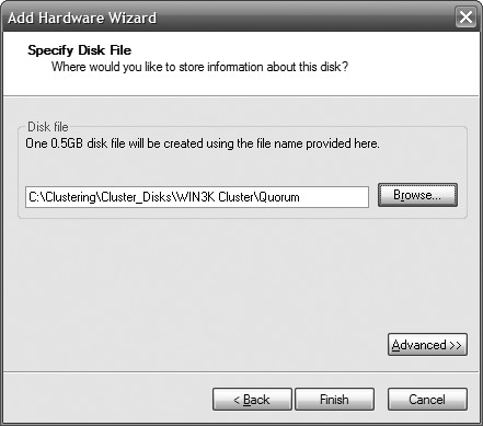 Figure 6: Browse to the folder where your shared disks are stored.