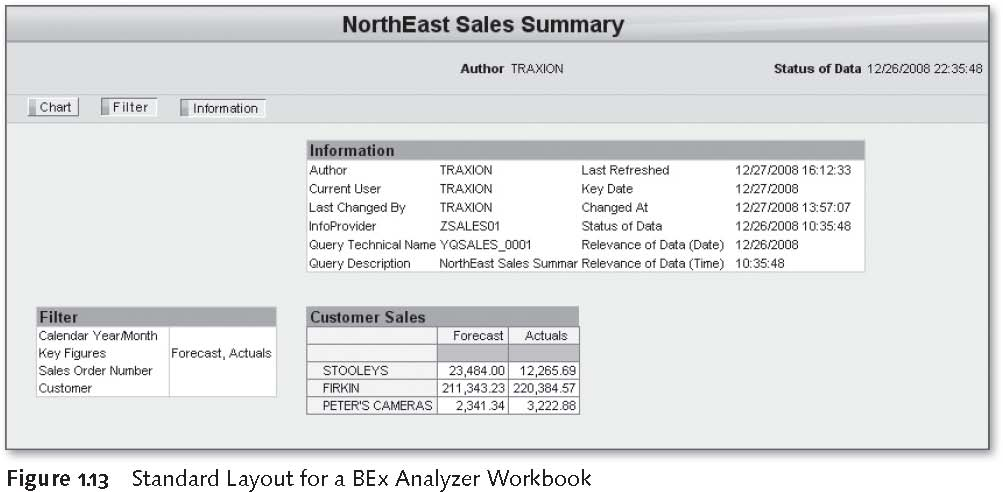 SAP BEx Tools: Standard Layout for a BEx Analyzer Workbook