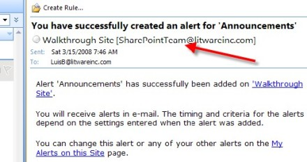 SharePoint vanity email address