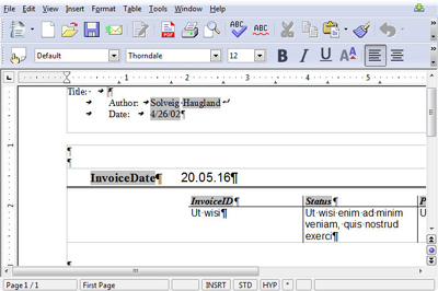 OpenOffice report view