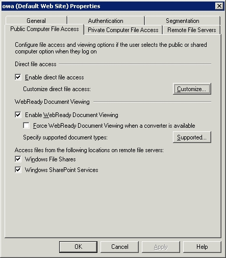 The Enable WebReady Document Viewing check box