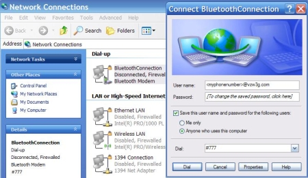 Using 3G phones for laptop Internet access -- connection-bluetooth image