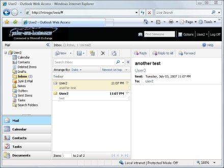 Exchange Server OWA mail tab
