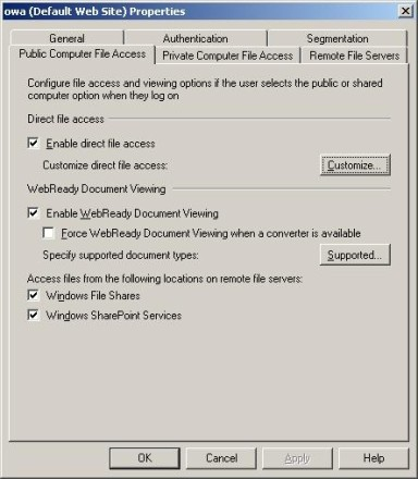 Exchange Server 2007 OWA public and private computer access