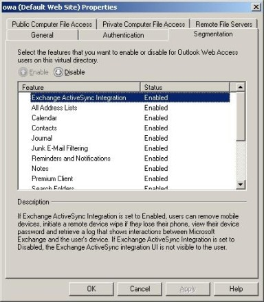 Enable Exchange ActiveSync Integration in OWA