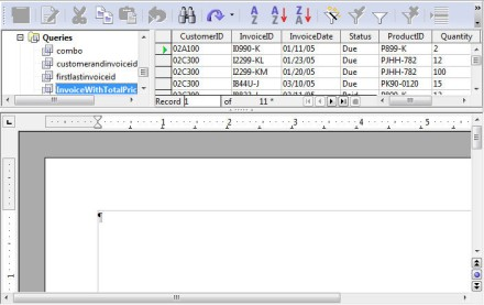 text document with database query