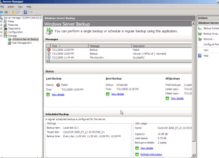  WSB, Server Manager in Windows Server 2008
