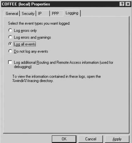 Routing and remote access in windows server 2003 configuration