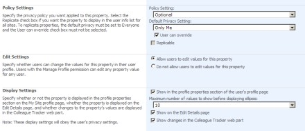 User Profile Properties option in SharePoint