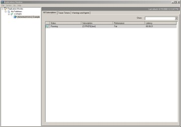 Click on Replication, then Launch Replication Monitor for a view of system activity