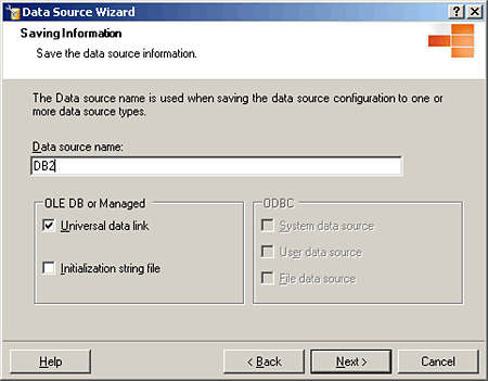 Leave universal data link selected when entering information into a linked server.