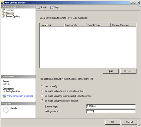 Define username/password for your linked SQL Server.