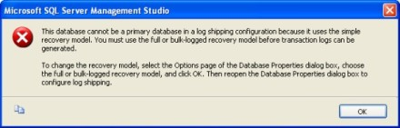 Dialog displayed if your database is in the simple recovery model