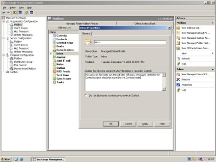 Manage default Exchange 2007 folders