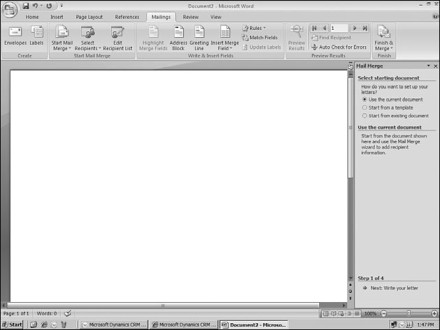 Figure 7.13: Microsoft Word Mail Merge Wizard (lower-right corner)