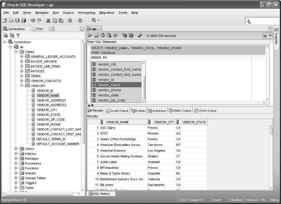 How to use SQL Developer to run SQL statements