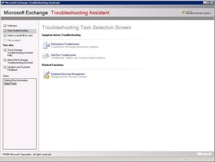 Troubleshooting Task Selection Screen